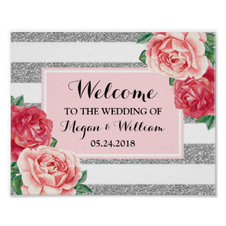 Welcome Wedding Blush Silver Stripes Pink Floral Poster