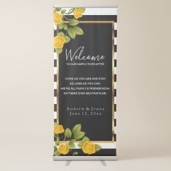 Welcome Wedding Seating - Yellow Roses Retractable Banner