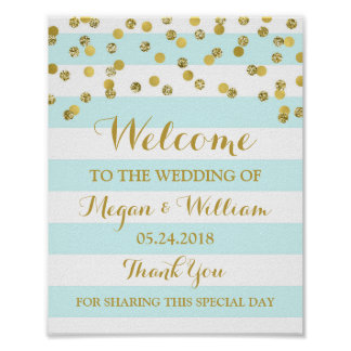 Welcome Wedding Sign Blue Stripes Gold Confetti