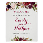 Welcome Wedding Sign Burgundy Red Floral Fall