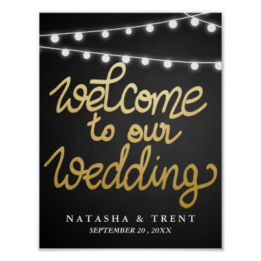 Welcome Wedding Sign Faux Gold Foil Chalkboard Poster