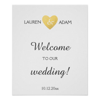Welcome wedding sign faux gold heart, custom names poster
