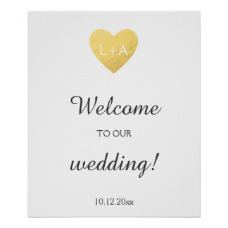 Welcome wedding sign, faux gold heart, initials poster