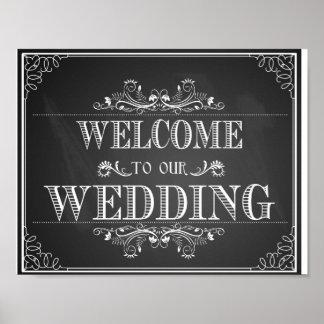 Welcome wedding sign in chalkboard print