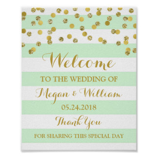 Welcome Wedding Sign Mint Stripes Gold Confetti Poster
