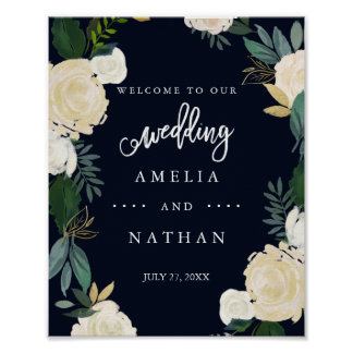 Welcome Wedding Sign Modern Botanical Navy