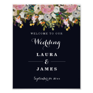 Welcome Wedding Sign Navy Botanical Flower
