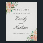 "Welcome Wedding Sign Peach Blush Watercolor Floral<br><div class=""desc"">Elegant Wedding Welcome Sign featuring a soft floral watercolor design in shades of blush pink,  peach and green. Classic style text in soft gray can be fully-personalized. Matching Wedding Collection in the Little Bayleigh Store!</div>"