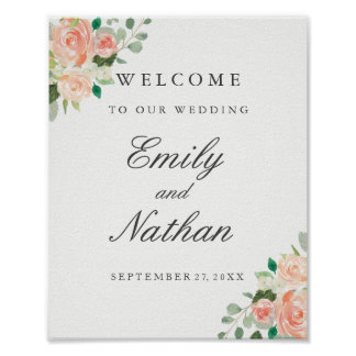Welcome Wedding Sign Peach Blush Watercolor Floral