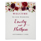 Welcome Wedding Sign Rustic Burgundy Red Floral
