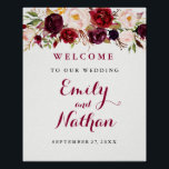 "Welcome Wedding Sign Rustic Burgundy Red Floral<br><div class=""desc"">Matching Wedding Collection in the Little Bayleigh Store!</div>"