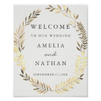 Welcome Wedding Sign Watercolor Gold Leaf Wreath