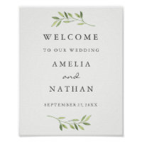 Welcome Wedding Sign Watercolor Green Leaf