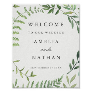 Welcome Wedding Sign Watercolor Leaf Wreath