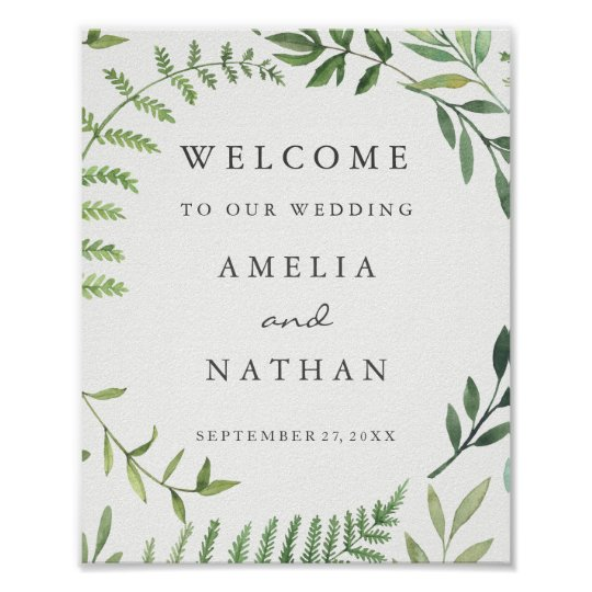 welcome wedding sign watercolor leaf wreath zazzle com