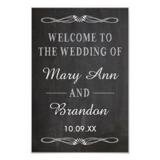 Welcome Wedding vertical chalkboard sign Print
