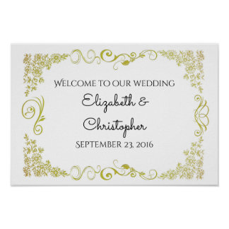 Welcome Wedding With Gold Fancy Floral Design Poster