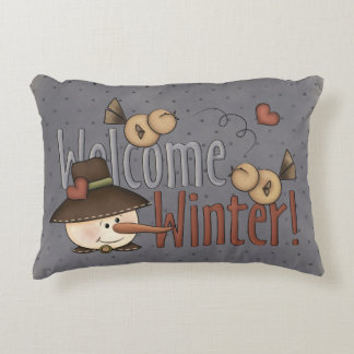 Welcome Winter Whimsical Primitive Festive Pillow Accent Pillow