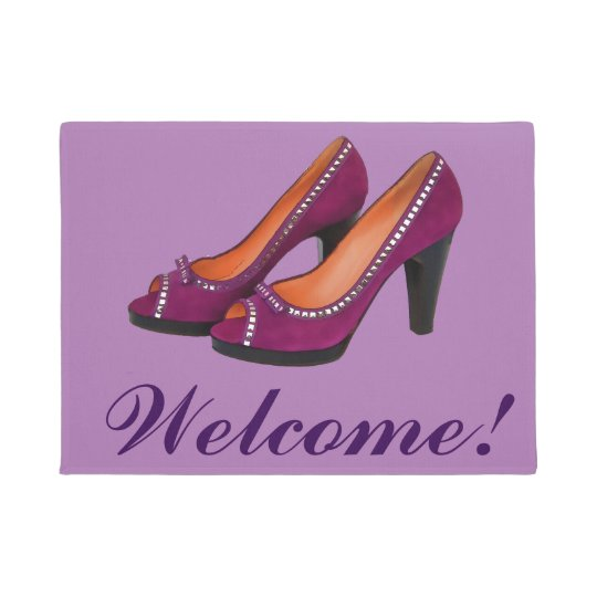 Welcome With High Heeled Purple Shoes Doormat Zazzle Com