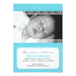 """Welcome With Love Modern Baby Birth Announcement 5"""" X 7"""" Invitation Card"""