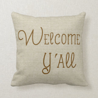 Welcome Y'All burlap-look custom name Pillows