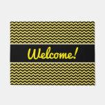 "[ Thumbnail: ""Welcome!"" + Yellow & Black Wavy Line Pattern Doormat ]"