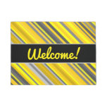 "[ Thumbnail: ""Welcome!"" + Yellow & Gray Stripes Pattern Doormat ]"