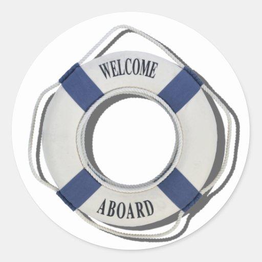 WelcomeAboardLifePreserver071812.png Pegatina Redonda