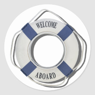 WelcomeAboardLifePreserver071812.png Classic Round Sticker