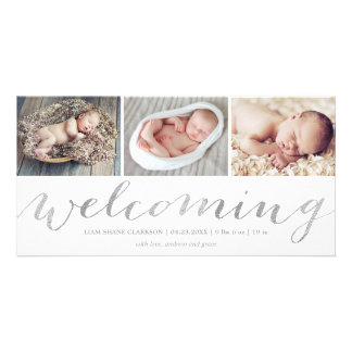 Welcoming Silver Script   Birth Announcement