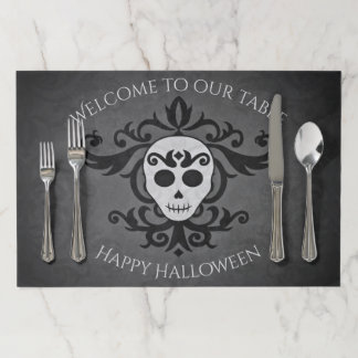 Welcoming skull damask placemat