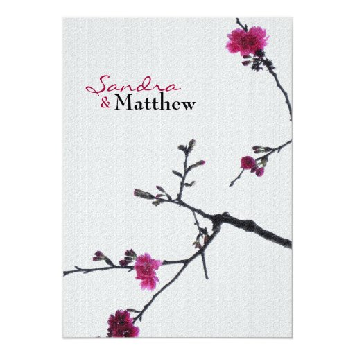 Welcoming Spring Double Happines/Chinese Wedding 3 5x7 Paper Invitation Card