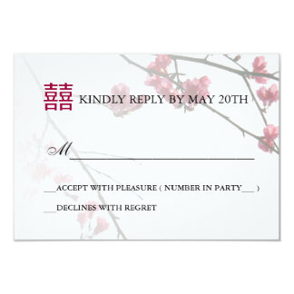 Welcoming Spring Double Happines/Wedding RSVP Card