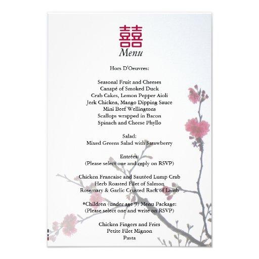 Welcoming Spring Double Happiness Sakura Menu Personalized Invitation