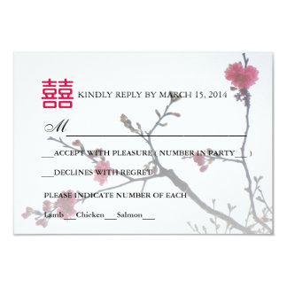 Welcoming Spring Double Happiness Sakura RSVP 3.5x5 Paper Invitation Card