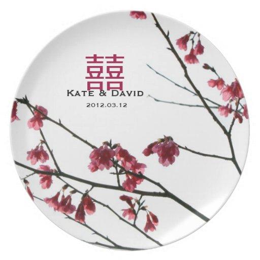 Welcoming Spring Red Sakura Wedding Gift Dinner Plate