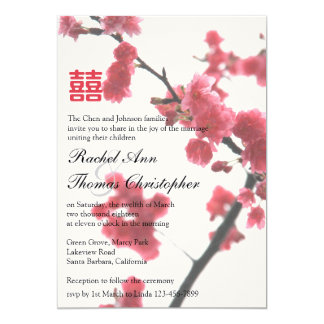Welcoming Spring Sakura Double Happiness Wedding Card