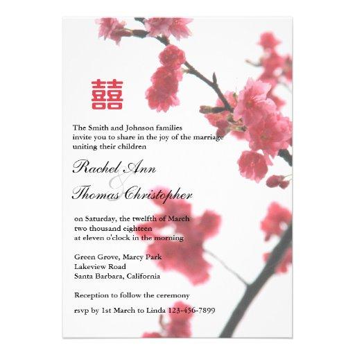 Welcoming Spring Sakura Double Happiness Wedding Custom Announcements