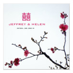 Welcoming Spring Sakura Double Happiness Wedding 5.25x5.25 Square Paper Invitation Card