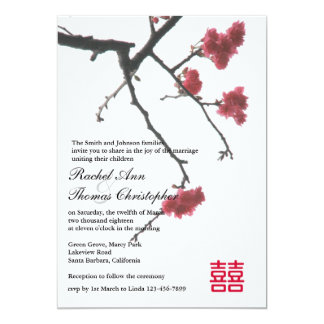 Welcoming Spring Sakura Oriental Zen Xi Wedding Custom Invitation