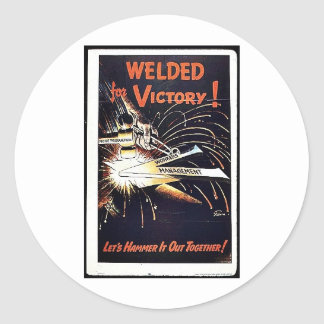Welded For Victory Classic Round Sticker