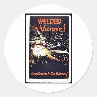 Welded For Victory Round Sticker