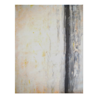 'Welded' Grey and Yellow Abstract Art Poster