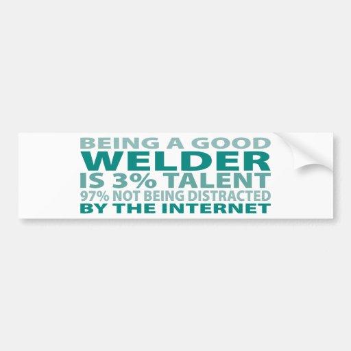 Welder 3% Talent Car Bumper Sticker