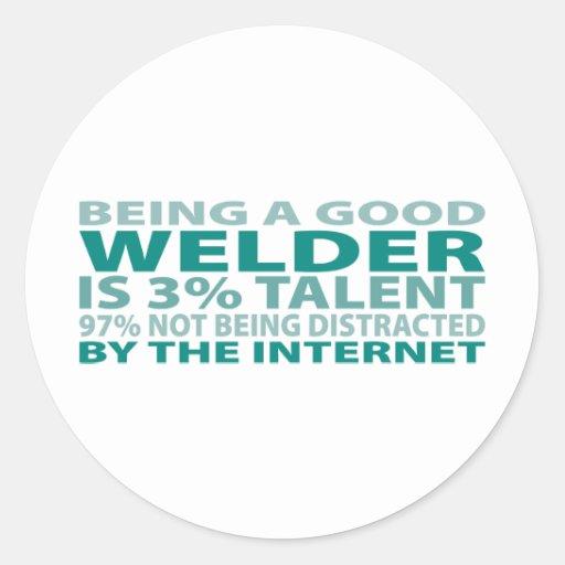 Welder 3% Talent Classic Round Sticker