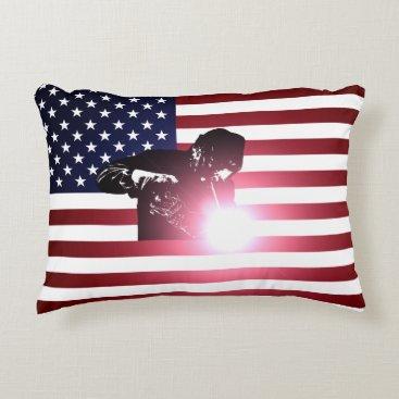 Welder & American Flag Accent Pillow