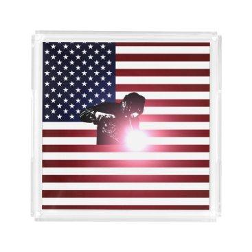 Welder & American Flag Acrylic Tray