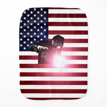 Welder & American Flag Baby Burp Cloth