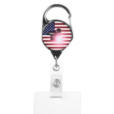 Welder & American Flag Badge Holder