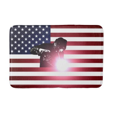 Welder & American Flag Bath Mat